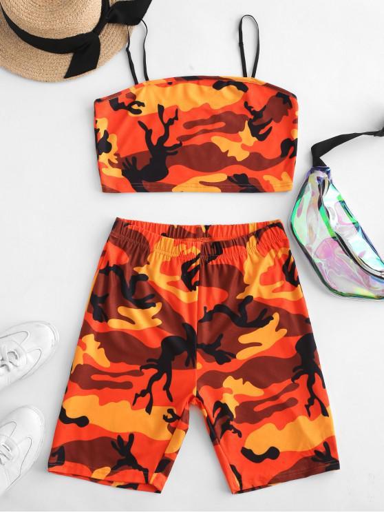 sale ZAFUL Camouflage Crop Cami Two Piece Suit - MULTI L