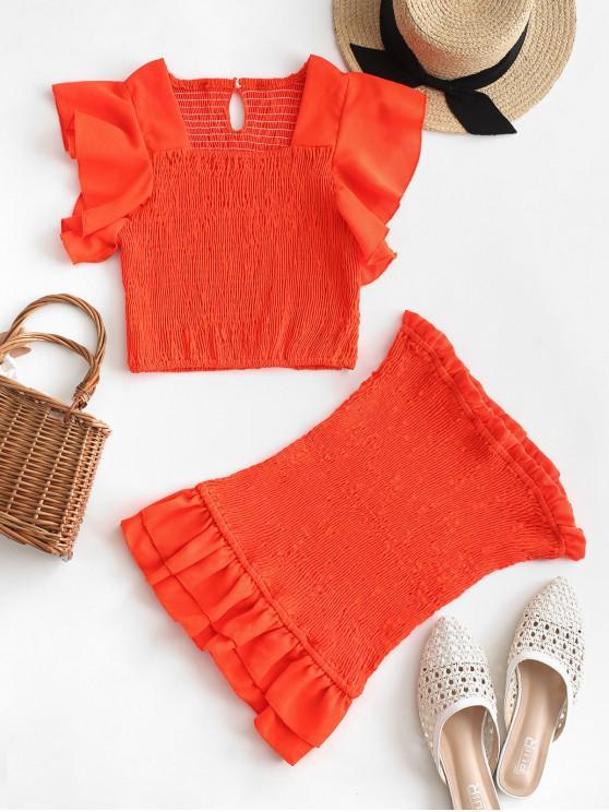 women's Neon Ruffle Smocked Two Piece Dress - BRIGHT ORANGE L