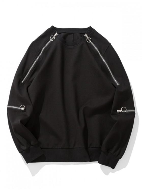 buy Zipper Design Pullover Hip-hop Sweatshirt - BLACK 2XL