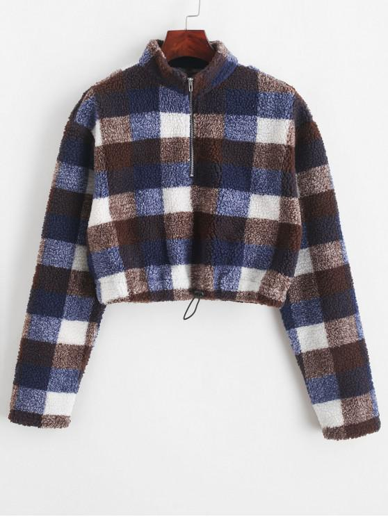 shops ZAFUL Cropped Half Zip Plaid Teddy Sweatshirt - MULTI L