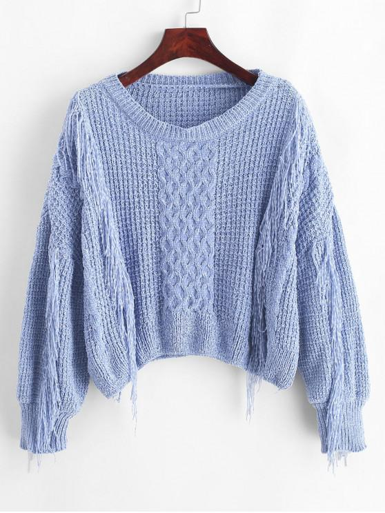 new ZAFUL Fringed Drop Shoulder Chenille Sweater - SLATE BLUE S
