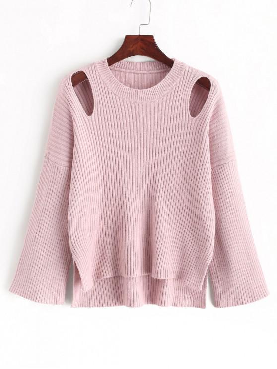 best ZAFUL Ribbed Cutout Drop Shoulder High Low Sweater - LIGHT PINK M