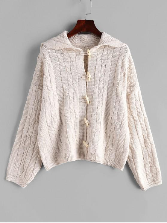 chic Drop Shoulder Cable Knit Horn Button Cardigan - WHITE ONE SIZE