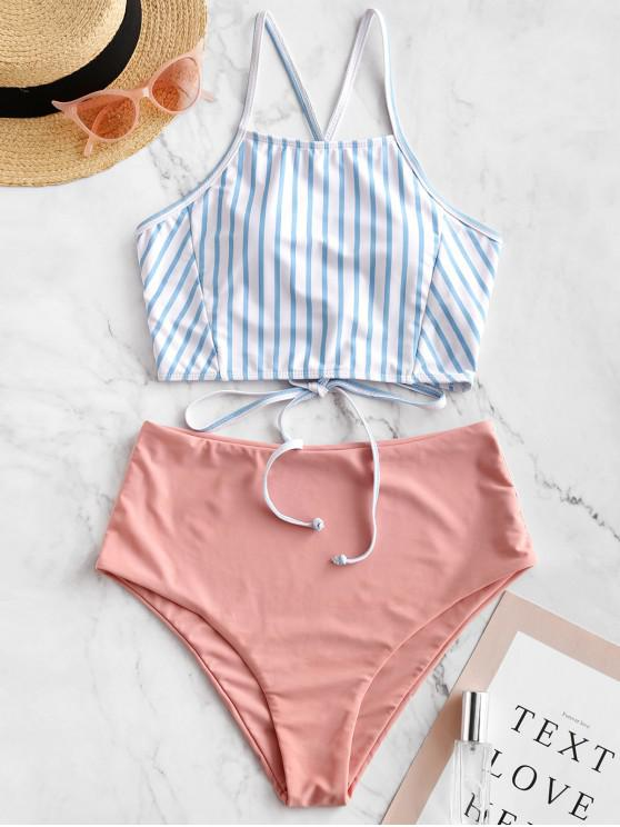womens ZAFUL Crisscross Lace-up Striped Tankini Swimsuit - PIG PINK S