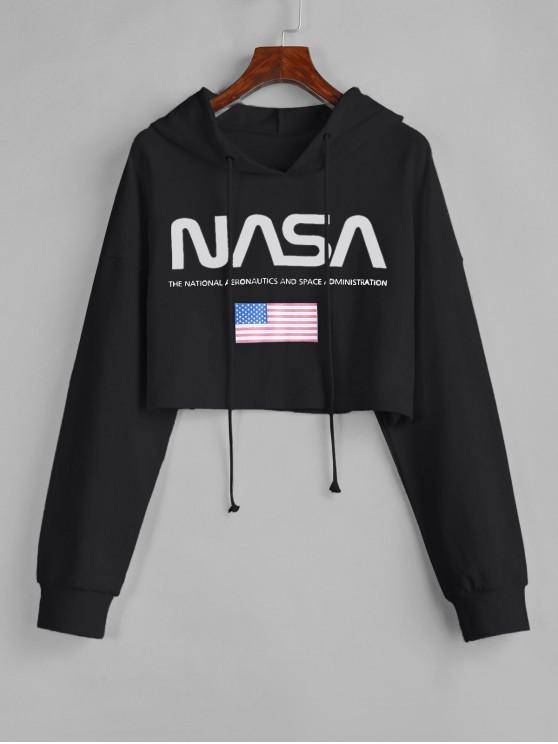 sale ZAFUL Drawstring American Flag Cropped Hoodie - BLACK L