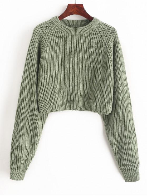 fancy ZAFUL Raglan Sleeve Crop Jumper Sweater - SEA GREEN S