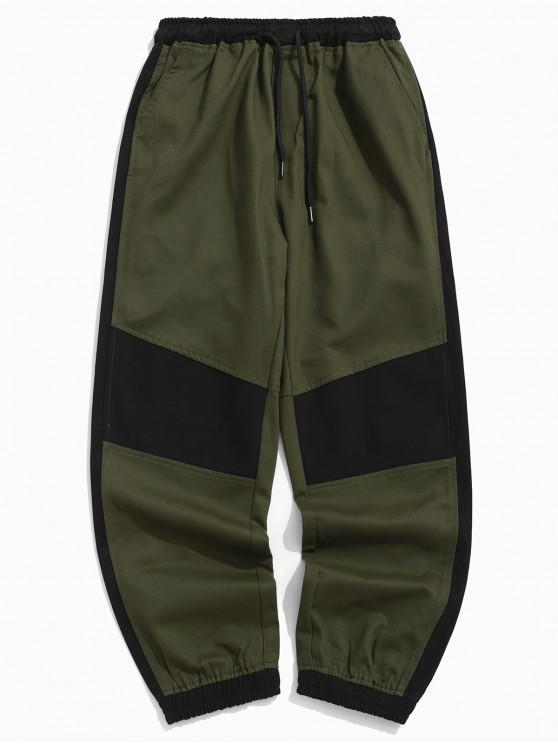 lady Color Block Spliced Casual Jogger Pants - MULTI S