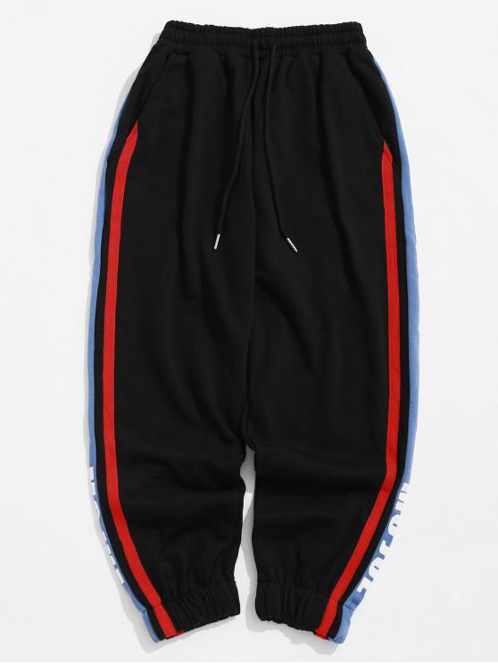 shops Contrast Striped Trim Letter Print Sport Jogger Pants - BLACK 2XL
