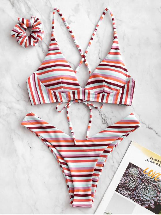 shop ZAFUL Colorful Striped Criss Cross Bikini Swimsuit with Hair Tie - MULTI-A M