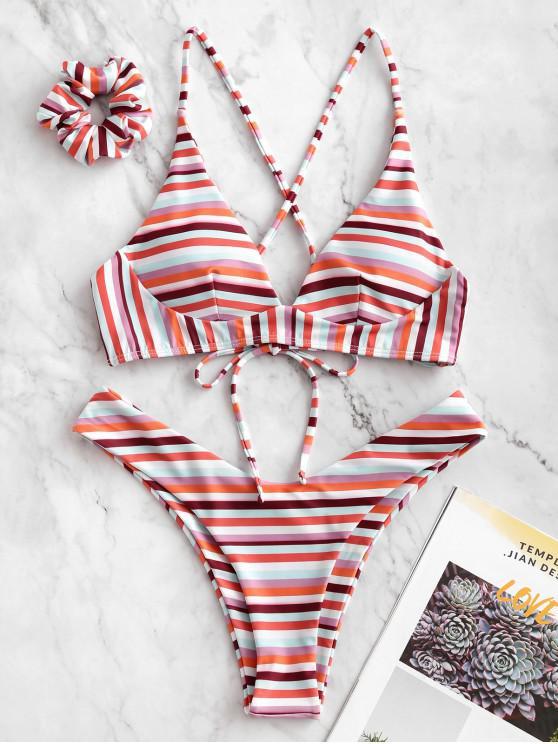chic ZAFUL Colorful Striped Criss Cross Bikini Swimsuit with Hair Tie - MULTI-A S