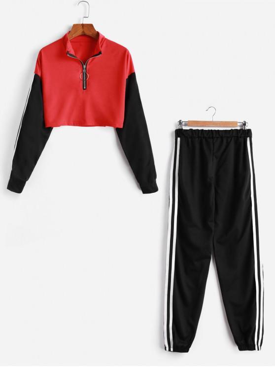 outfits Zipper Drop Shoulder Striped Tape Two Piece Gym Set - MULTI-A L
