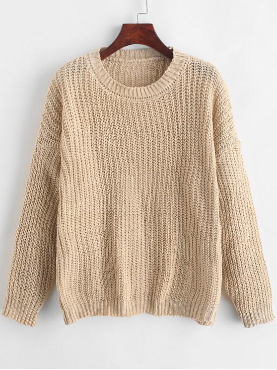 Suéter con hombros descubiertos y liso - Beige Talla única