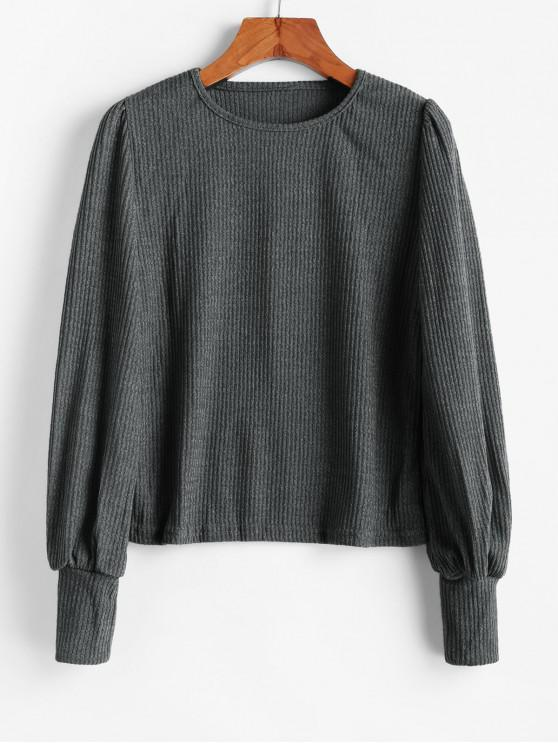 sale Ribbed Textured Casual Knitwear - ASH GRAY XL