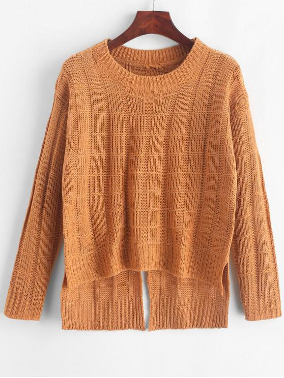 ladies Pullover Square High Low Slit Sweater - CARAMEL ONE SIZE