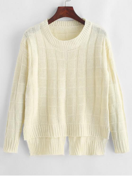 fancy Pullover Square High Low Slit Sweater - WHITE ONE SIZE
