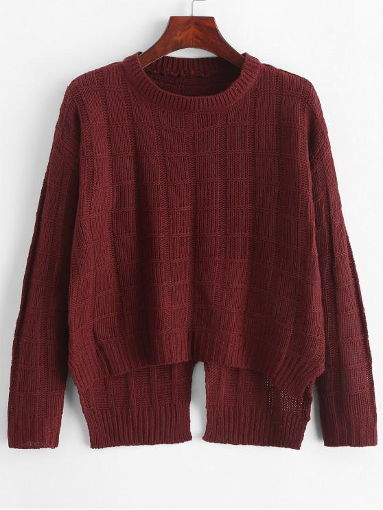 lady Pullover Square High Low Slit Sweater - RED WINE ONE SIZE