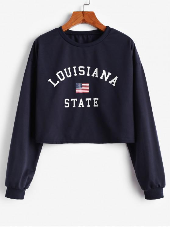 new Letter American Flag Drop Shoulder Sweatshirt - BLUE XL