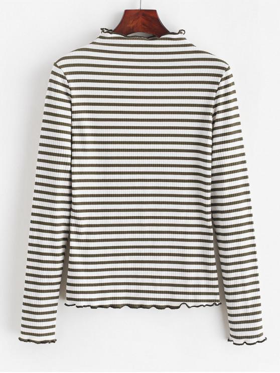 fashion ZAFUL Striped Lettuce Trim Mock Neck T-shirt - WHITE XL