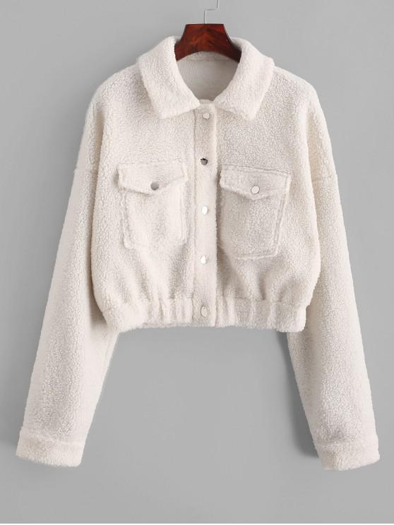 women ZAFUL Snap Button Front Flap Pockets Teddy Jacket - WHITE M