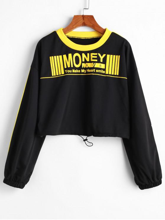 best Money Graphic Piping Cropped Sweatshirt - BLACK L