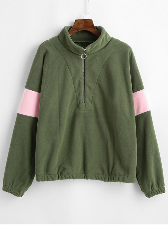 shop Half Zip Two Tone Loose Sweatshirt - SEA GREEN L