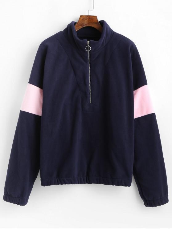 new Half Zip Two Tone Loose Sweatshirt - DENIM DARK BLUE M