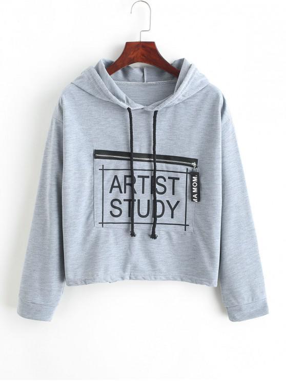 women's Drawstring Zippered Pocket Artist Study Graphic Hoodie - GRAY ONE SIZE