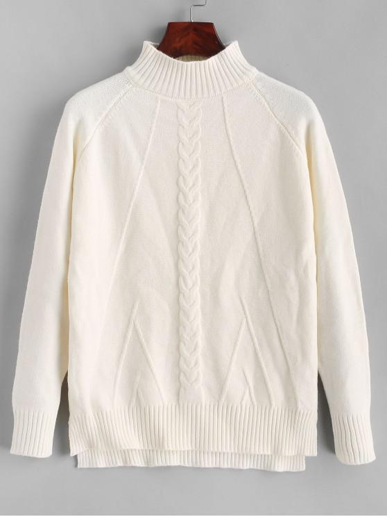 women Mock Neck High Low Slit Cable Knit Sweater - WHITE ONE SIZE