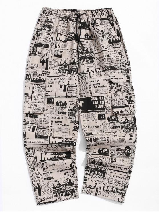 Periódico desgastado con estampado completo pantalones largos - Multicolor-A 4XL
