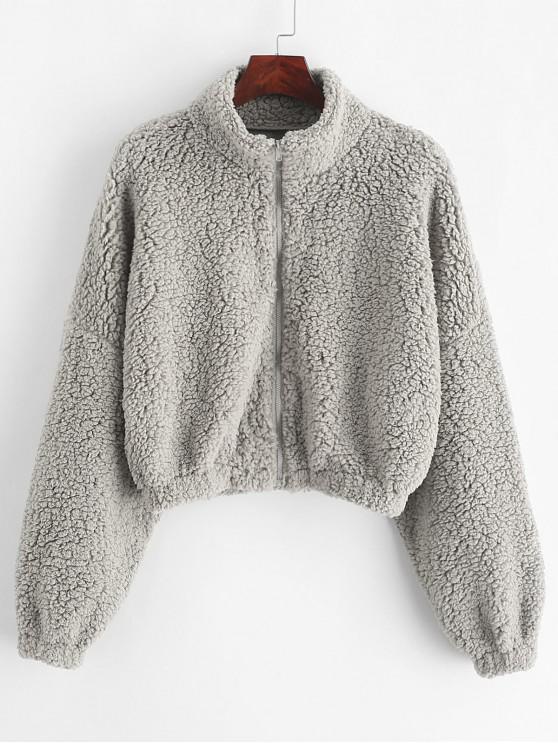 fancy ZAFUL Drop Shoulder Zip Up Teddy Coat - GRAY CLOUD L
