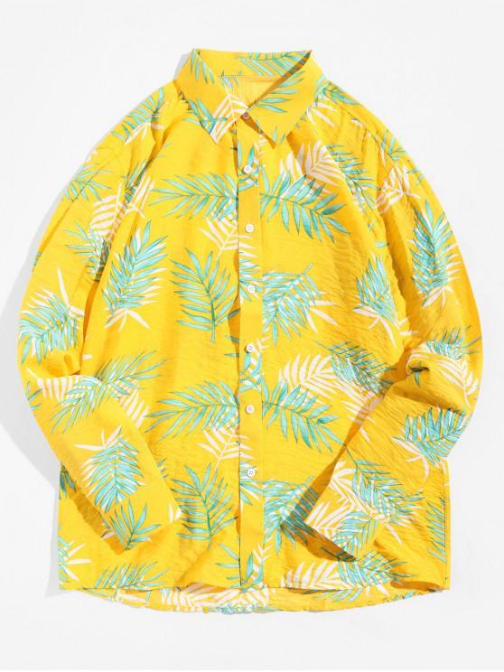 shops Tropical Leaf Print Vacation Shirt - SUN YELLOW L