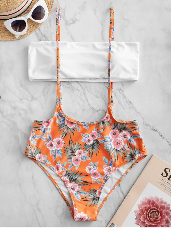 affordable ZAFUL Flower Padded Suspender Bikini Swimsuit - MULTI-A L