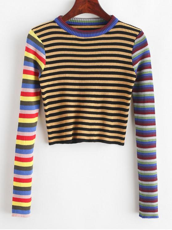 Cuello de equipo recortada del arco iris rayas suéter - Multicolor-A Talla única