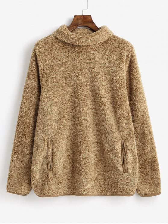 Sweat-shirt Chiné en Fausse Fourrure avec Poches à Col Roulé - Kaki Léger XL