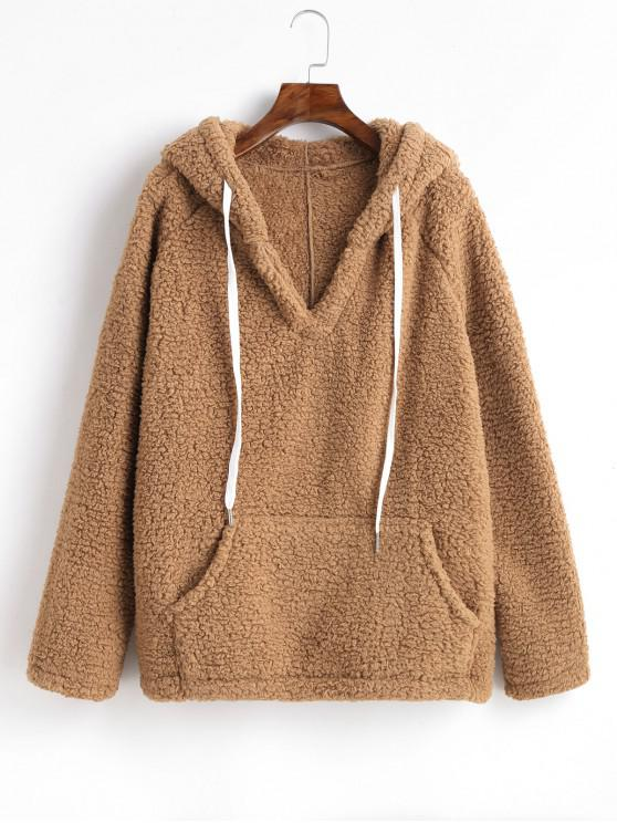 chic Solid Color Drawstring Fluffy Hoodie with Pockets - CAMEL BROWN XL