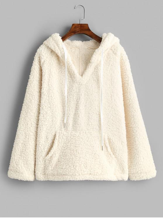 womens Solid Color Drawstring Fluffy Hoodie with Pockets - WHITE L
