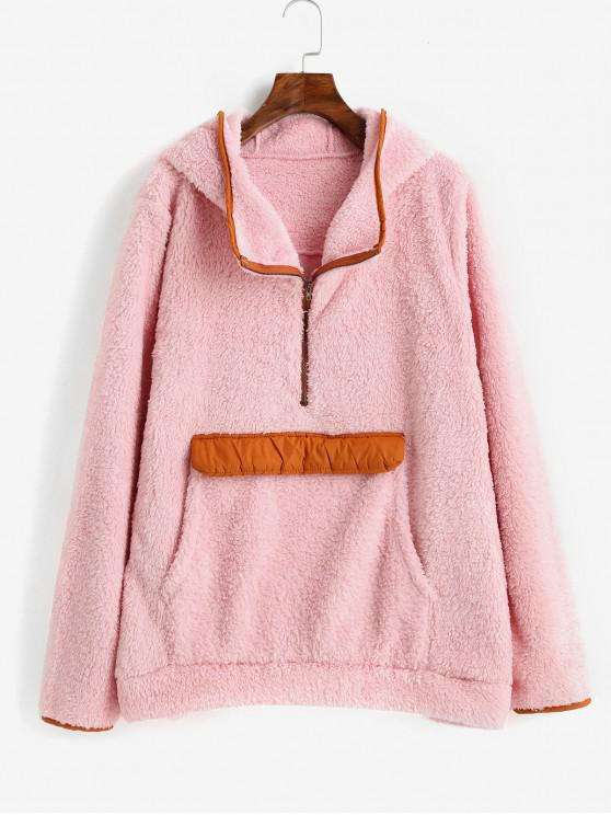 fancy Front Pocket Half Zip Contrast Faux Fur Hoodie - PINK L