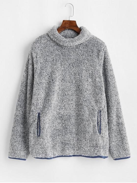 Sweat-shirt Chiné en Fausse Fourrure avec Poches à Col Roulé - Gris L