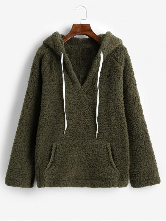 affordable Solid Color Drawstring Fluffy Hoodie with Pockets - ARMY GREEN L