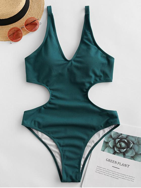 outfits ZAFUL Textured Knot Monokini Swimsuit - MEDIUM AQUAMARINE S
