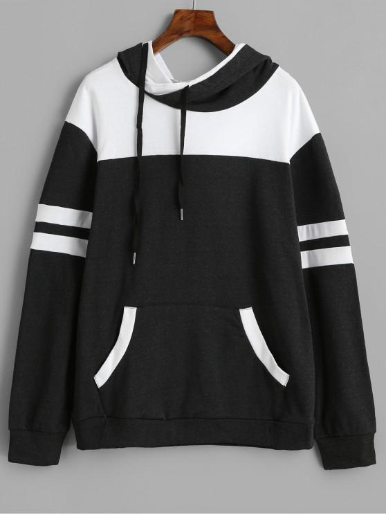 affordable Front Pocket Striped Drawstring Hoodie - BLACK S