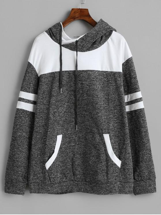 lady Front Pocket Striped Drawstring Hoodie - LIGHT SLATE GRAY L