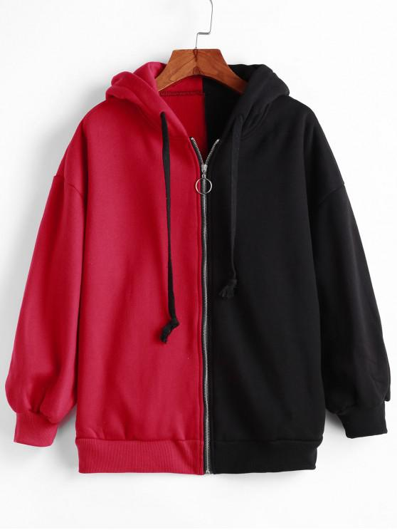 affordable Two Tone Pull Ring Zip Flocking Drop Shoulder Hoodie - MULTI-A M