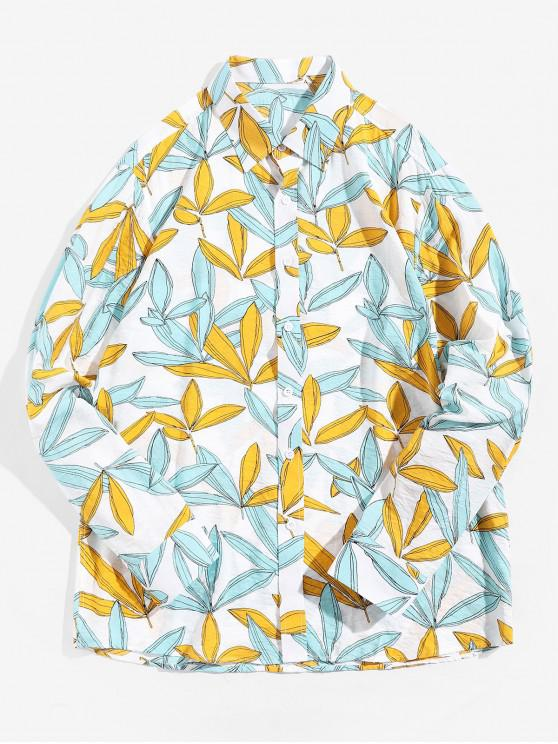 sale Plant Leaf Print Long Sleeve Button Vacation Shirt - MULTI M