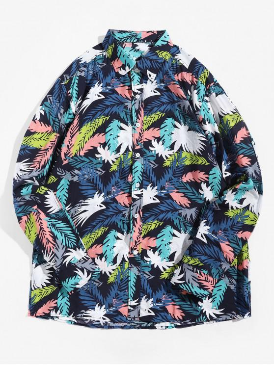 women's Colored Plant Leaf Print Long Sleeve Vacation Shirt - MULTI 2XL