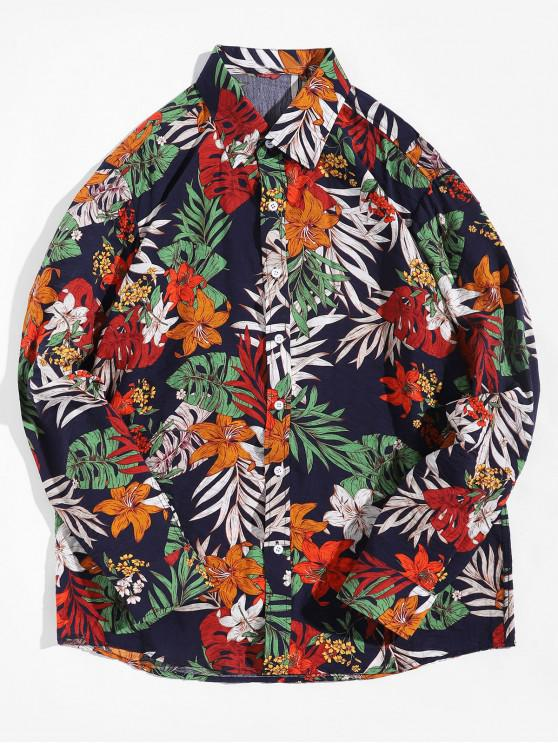 chic Tropical Flower Plant Print Button Up Vacation Shirt - MULTI L