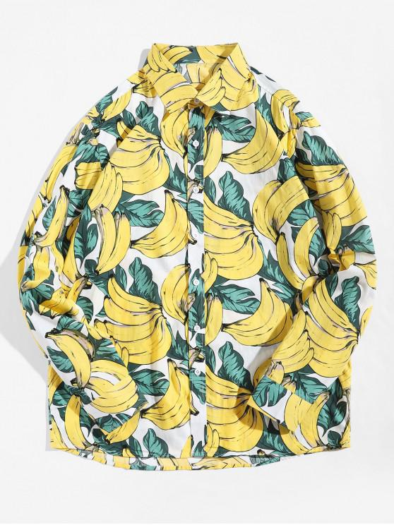 sale Banana Allover Print Button Up Vacation Shirt - MULTI S