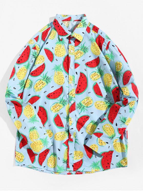fancy Watermelon Pineapple Print Button Up Vacation Shirt - MULTI L