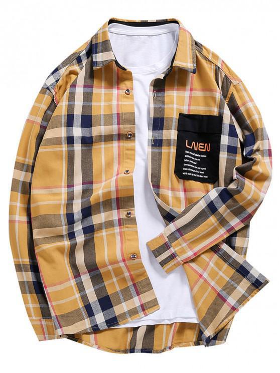 best Letter Print Spliced Contrast Trim Pocket Plaid Shirt - MULTI XL