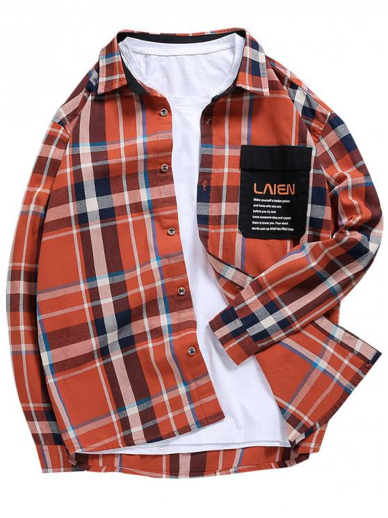 outfit Letter Print Spliced Contrast Trim Pocket Plaid Shirt - MULTI-B L